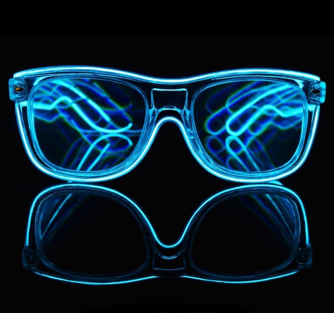 Amazon.com: GloFX Blue EL Wire Wrapped Diffraction Glasses - LED ...