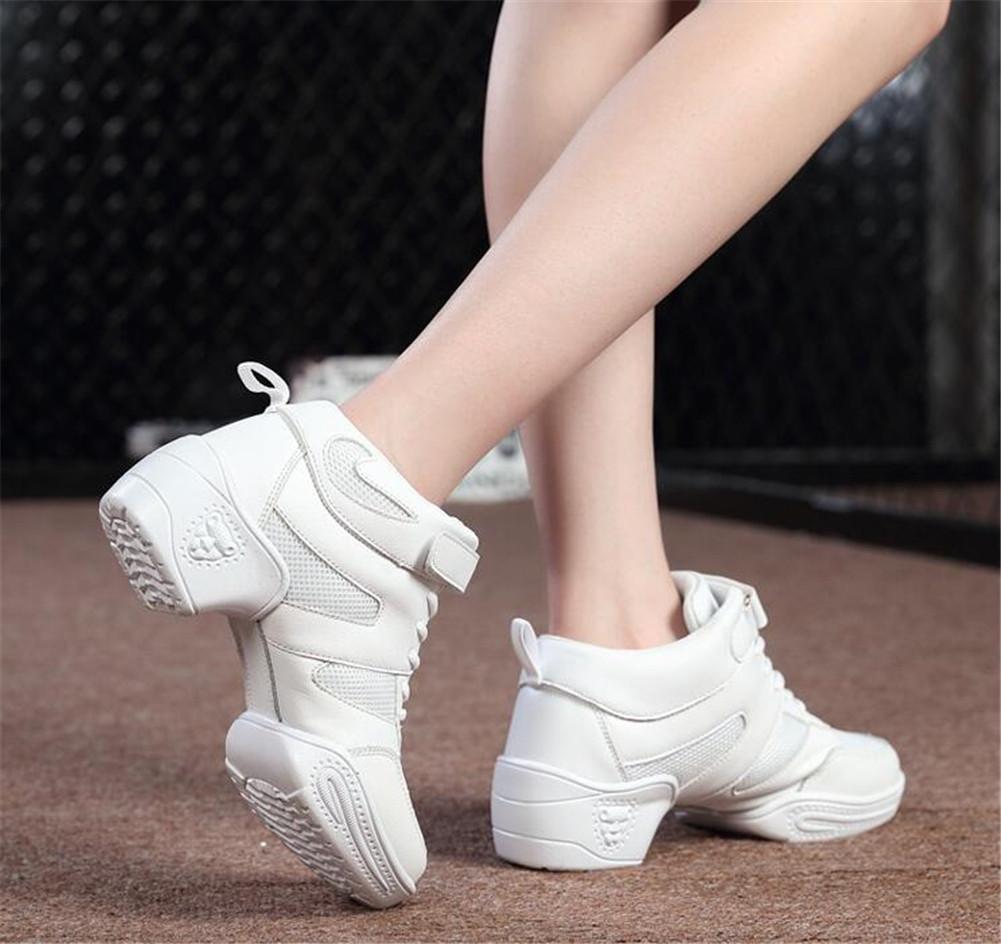 Frauen tanzen Schuhe Schuhe Schuhe Ledernetz Weiche Split-Sohle Jazz-Trainer Sport Größe 36 bis 40  Weiß mesh  EU36 0a8537