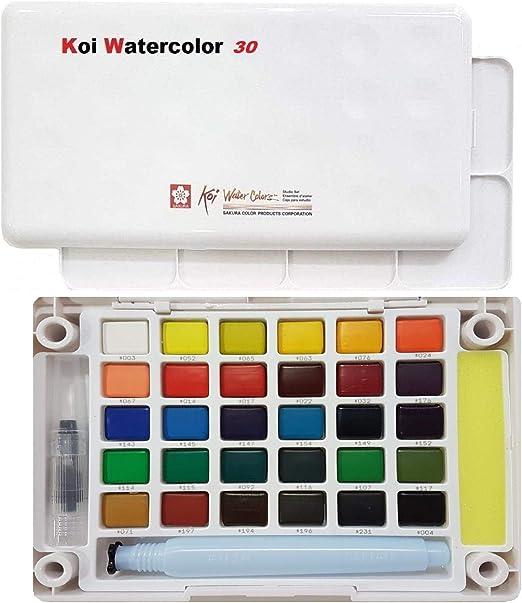 Sakura Finetek Koi acqua colori tasca campo Sketch Box-30 colori ...