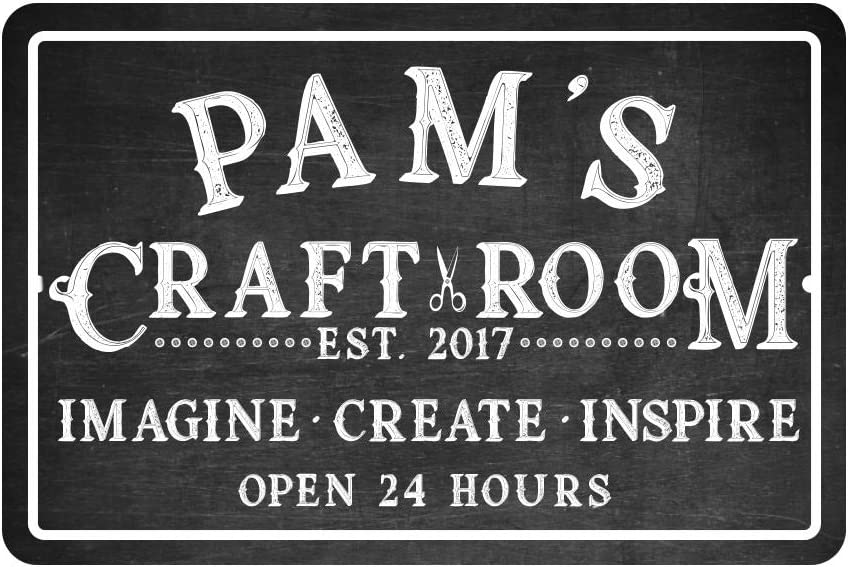 Pattern Pop Personalized Craft Room Chalkboard Look Metal Room Sign