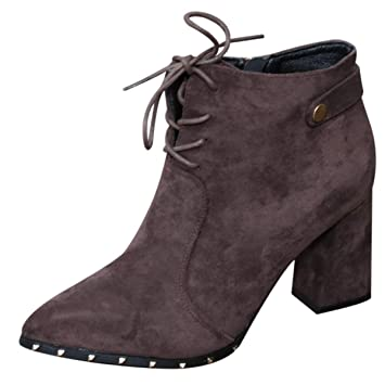 7a2b8b71a92 SFSYDDY Zapatos Populares/Suede Moda Señaló Pequeñas Botas Grueso Tacon  Corbata Martin Botas Franela De 8 Cm De Tacon Alto: Amazon.es: Deportes y  aire libre
