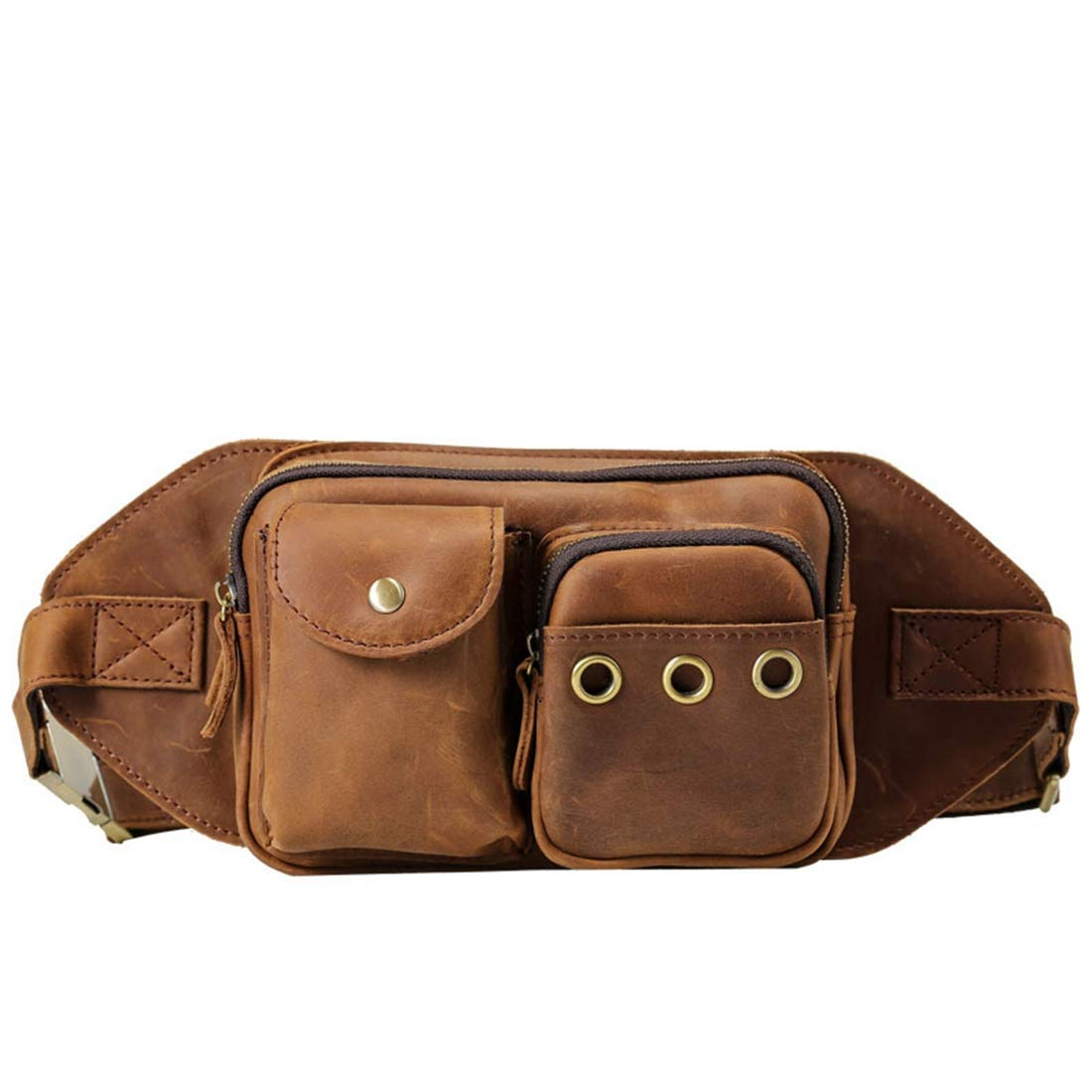 RABILTY Bulk Capacity Crazy Horse Leather Waist Bag Crossbody Fanny Pack Organizer Genuine Leather Travel Neck Pouch Color : Brown