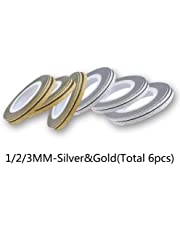 Niome 6pcs Set/Rolls 14pcs Set/Rolls Matte Nail Glitter Frosted Striping Tape Line Colorful Gold Silver Stickers Decals DIY 1/2/3MM 1/2/3MM-Silver&Gold(Total 6pcs)