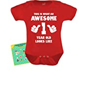 4a6ccb329 TeeStars - This is What an Awesome One Year Old Looks Like Funny Baby  Bodysuit Newborn Red