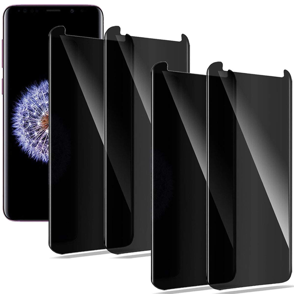 Compatible for Samsung Galaxy S8 Plus (Not for S8) Screen Protector Privacy Anti-Spy, Moresky S8+ Tempered Glass 3D Curved Edge Case Friendly Film (4 pcs) by Moresky (Image #1)