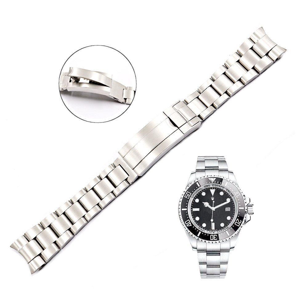 20mm Solid Curved End Screw Links Replacement Watch Band Oyster Bracelet For Deepsea