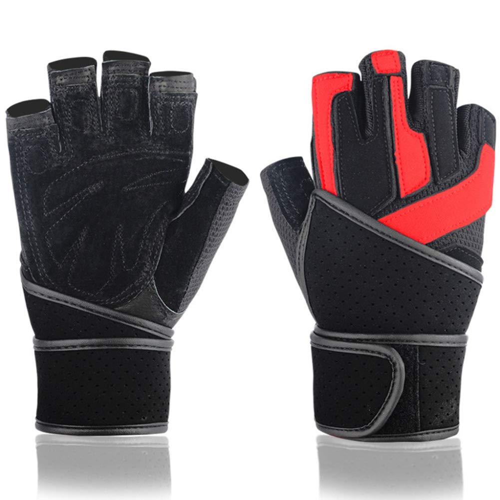 Handschuhe, Armbänder, tragbar, atmungsaktiv, Leder, Gewichtheben, Herren-Trainingsgeräte, Fitness-Handschuhe, Zwei Farben (schwarz, schwarz und rot) Größe: S, M, L, XL