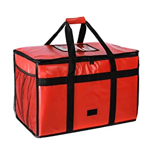 Reusable Insulated Pizza Carrier Bag for Food delivery -Foldable Heavy Duty Food Warmer Grocery Bag for Camping Catering Restaurants UberEats Doordash Grubhub Postmates (23x14x15)