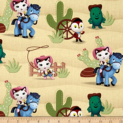 Disney Sheriff Callie Western Scene Tan Fabric By The Yard ()