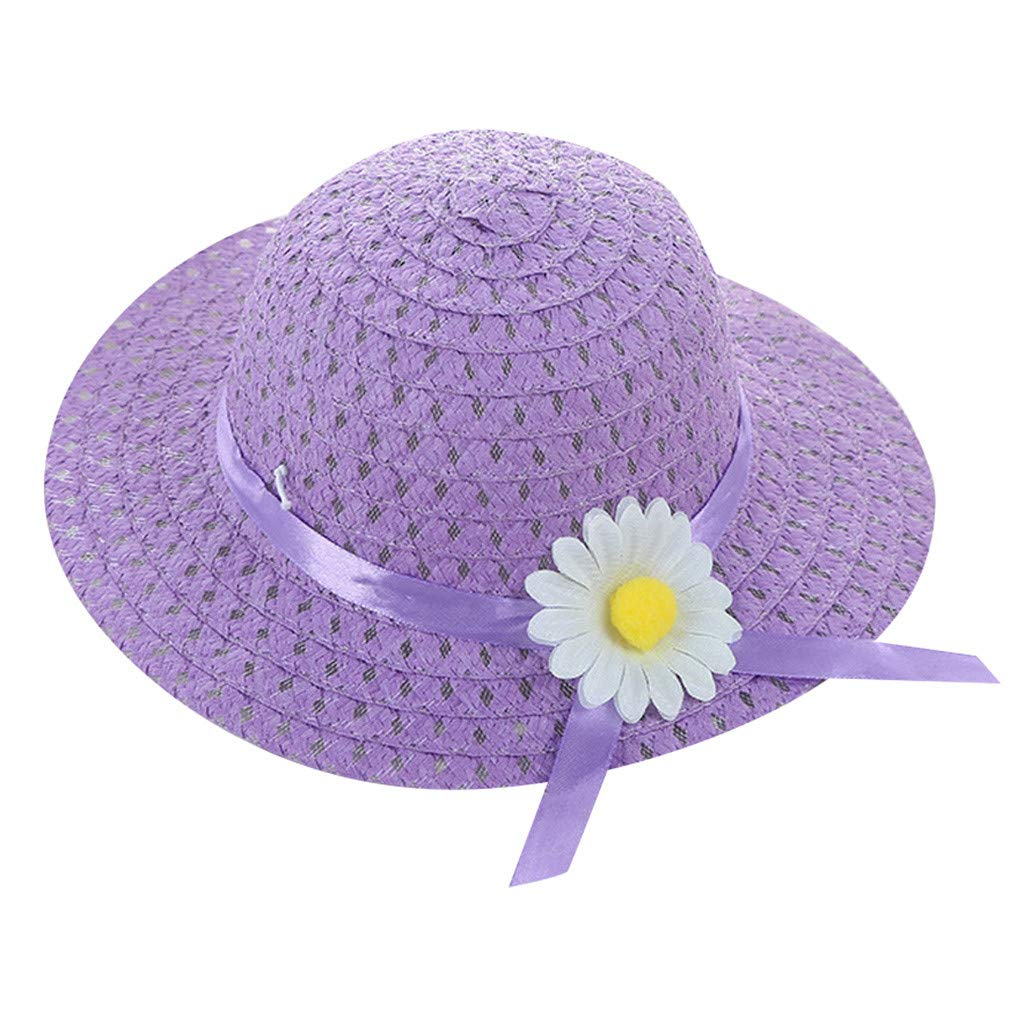 ❤️ Mealeaf ❤️ Baby Kids Girl Summer Floral Flower Straw Visor Sun Hat Beach Hats(Purple,)