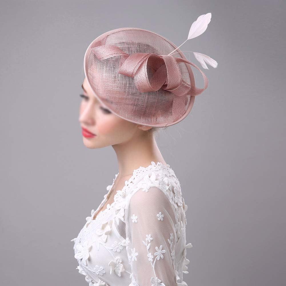 Runyue Damen Elegant Fascinator Hut Braut Hair Clip Bowler Hut Party Kopfbedeckung