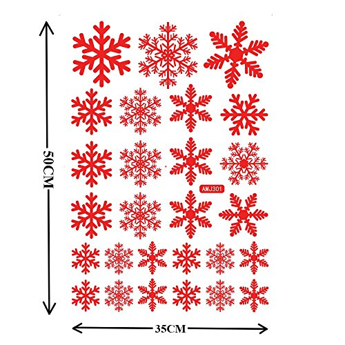 QIDIANTRADE 54 pcs Red Snowflakes Window Clings Decal Stickers Christmas Thanksgiving Decorations Ornaments Party Supplies (2 Sheets) -