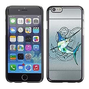PC/Aluminum Funda Carcasa protectora para Apple Iphone 6 Plus 5.5 Silver Sailfish Fishing Club Blue Fish / JUSTGO PHONE PROTECTOR