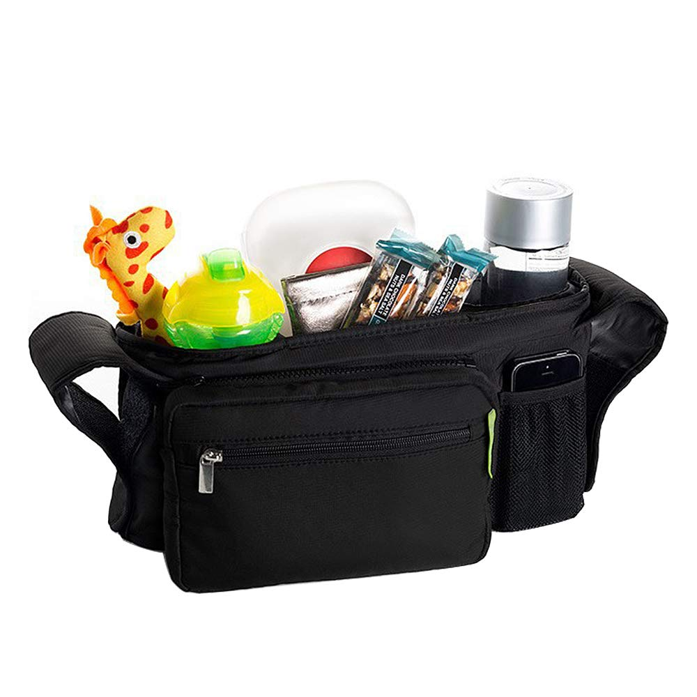 ZoneStar Black Stroller Organizer with Insulated Cup Holders, Detachable Phone Bag (Bag-Y-Black) by Zone Star (Image #4)