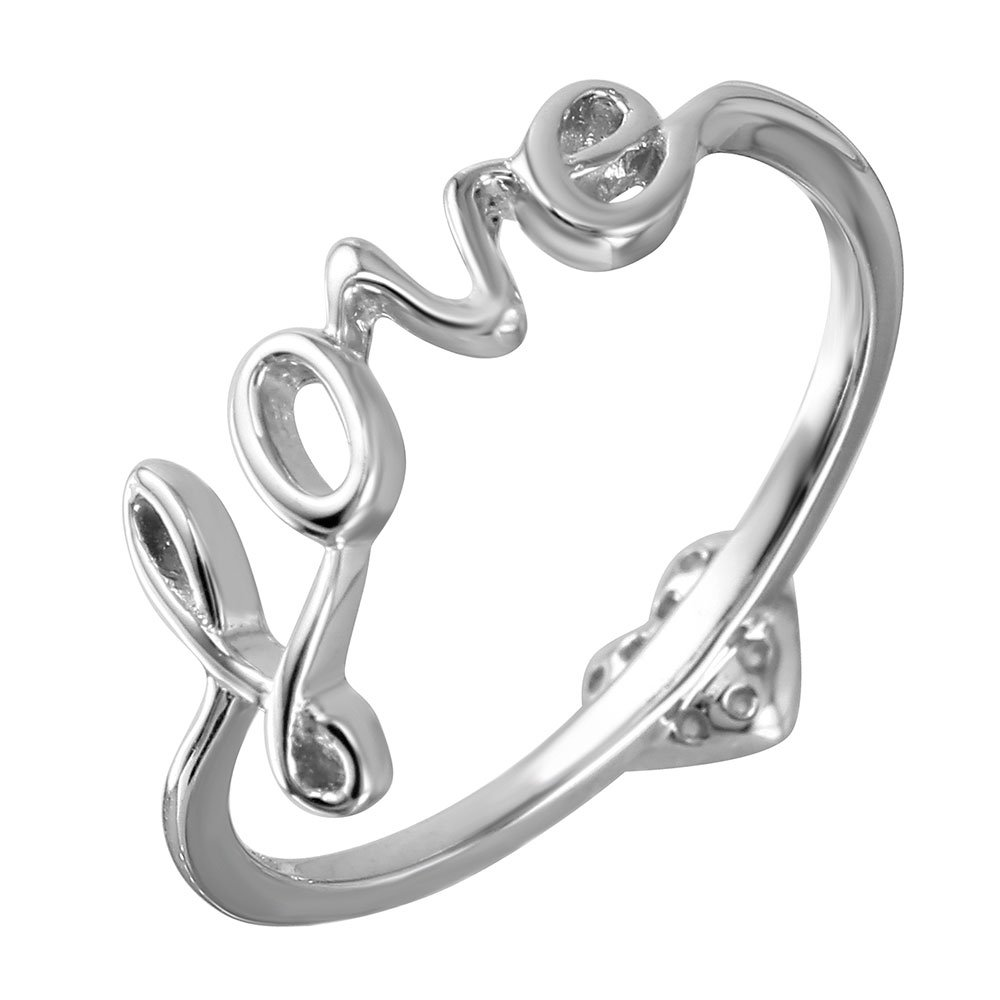 Clear Cubic Zirconia Love With Heart Ring Rhodium Plated Sterling Silver Size 5