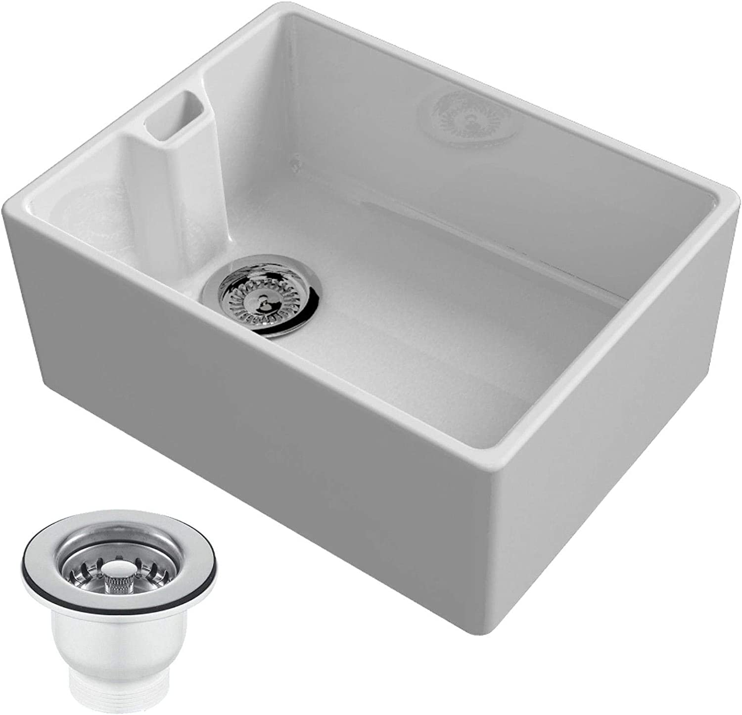 Reginox Regi-Ceramic Belfast, 1 Bowl Sink, White with 90mm Strainer Waste