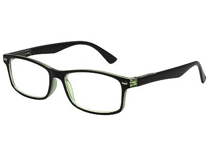 TBOC Gafas de Lectura Presbicia Vista Cansada – Graduadas +3.50 Dioptrías Montura de Pasta Bicolor Negra y Verde Claro de Diseño Moda para Hombre y ...
