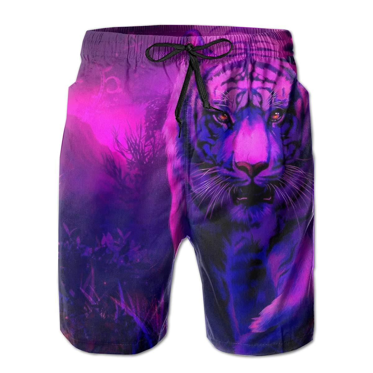 Blue Night Tiger Mens Board Shorts Swim Mesh Lining and Side Pocket