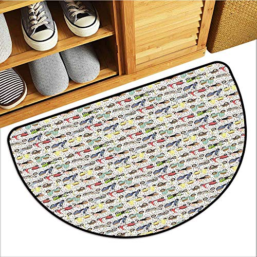 Axbkl Non-Slip Door mat Motorcycle Vintage Multicolored Motorcycles Old and Modern and Lively Spots in Background Antifouling W30 xL18 Multicolor