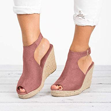 ace1f5dd3dd7 Amazon.com  Women Summer Straw Wedge Sandals for Women Peep Toe Ankle Strap  Backless Sandals by Lowprofile  Clothing