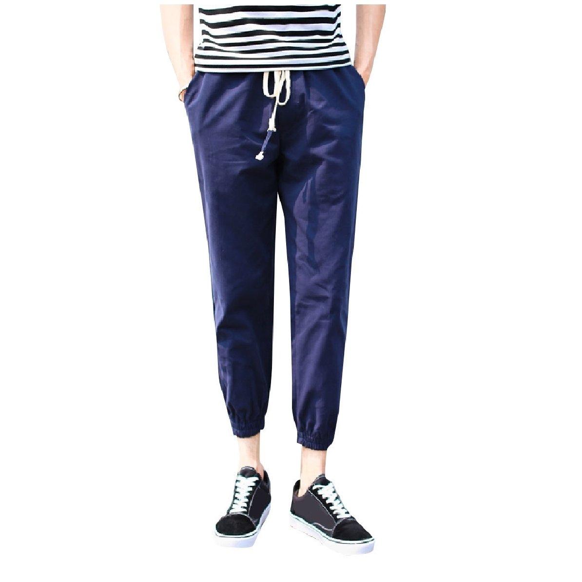 YUNY Men Elastic Waist Beam Foot Trousers Tenths Pants Navy Blue 2XL