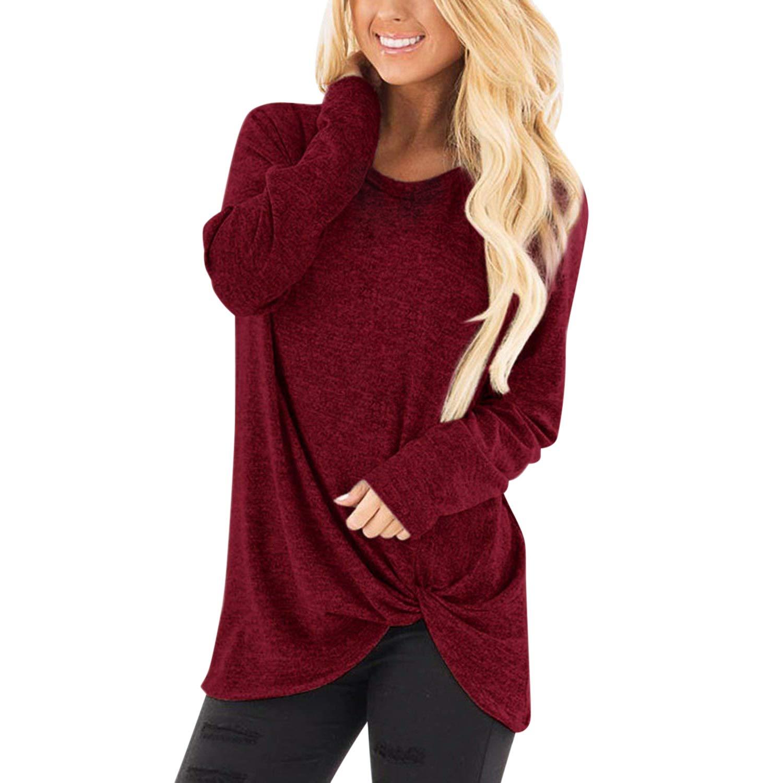 StarTreene Women Casual Long Sleeve T-Shirt Tunic Top Knot Side Twist Blouse