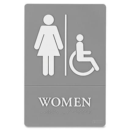 quartet women bathroom sign handicap accessible ada approved 6 x 9 - Womens Bathroom Sign