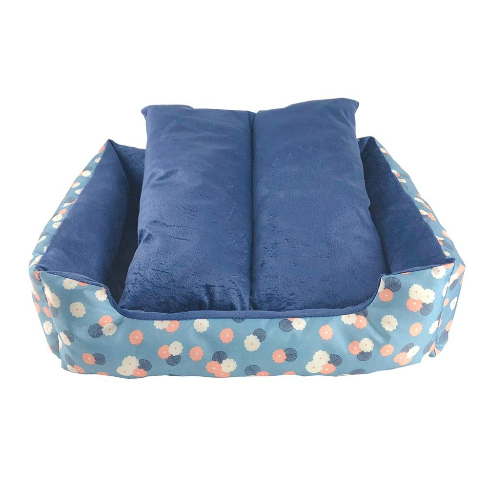L Soft and Comfortable Square pet Bed Water bluee Dog Bed Sofa Dog House Thick Short Plush Oxford Cloth PP Cotton Pet cat Dog cave (Size   L)