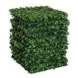Outsunny 20″x 20″ 12 Piece Artificial Boxwood Hedge Mat Panels Outdoor Patio – Clover For Sale