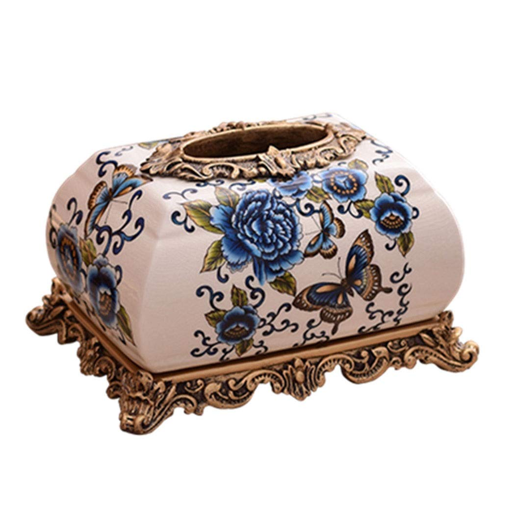 HONGNA European-Style Ceramic Multi-Function Tissue Box American-Style Living Room Home Decoration Decoration Coffee Table Dining Table Creative Remote Control Storage Box (Size : S)