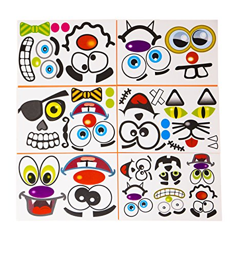 M & M Products Online 24 Pack Make A Jack-O-Lantern Face Sticker Sheet Set - Halloween Stickers to Bring Your Pumpkins to Life - Let Your Kids Get Creative with Various Designs Available