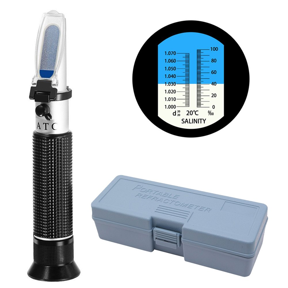 COCODE Refractometer Salinity ATC Hydrometer Aquarium Dual Scale Optical Salinity Meter Specific Gravity Automatic Temperature Compensation for Pool Sea Water Fish Tank Testing by COCODE