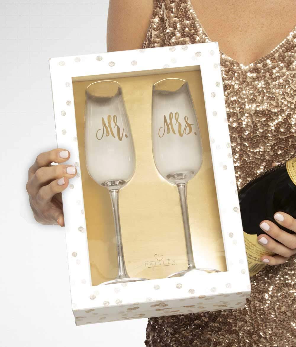 The Paisley Box Mr. & Mrs. Champagne Flutes