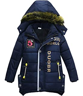 AnyuA Jungen Einfarbig Winterjacke Mantel Jacke Tasche Warm