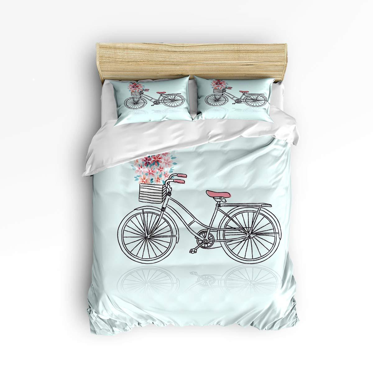 EZON-CH かわいい布団カバー3点セット 子供用 ベッドセット 男の子 女の子 美しい花と鹿のヘラジカ柄 ホームインテリア寝具セット 枕カバー2枚付き King Size 20181218WHLEZONSJSSSSTW02363SJSDEZN B07LGBRLCM Bicycle Romanticezn7338 King Size