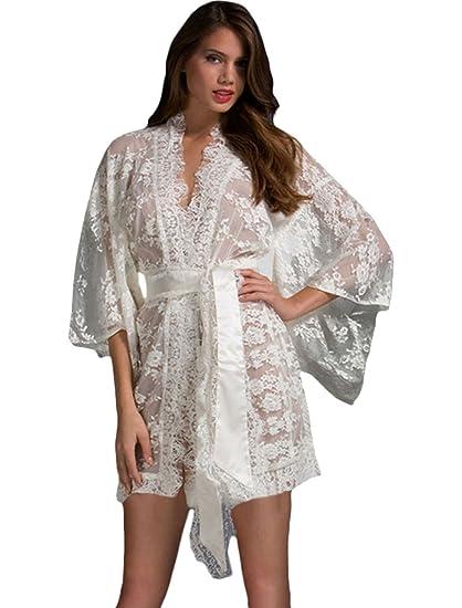 Moda Mujers Floral Ceñido Cordón Kimono Camisa de señora Ropa de dormir Hora de acostarse Pijama
