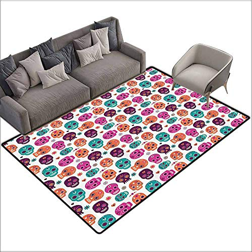 - Door Mat Living Room Non-Slip Day of The Dead,Dia de Los Muertos Skull Masks with Floral Style Design Print,Pale Orange Plum Seafoam 48