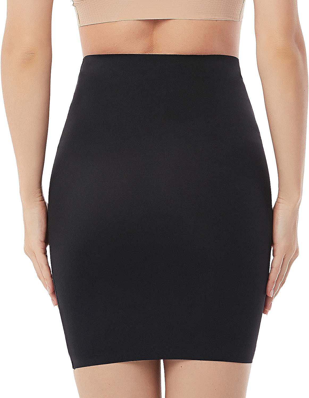 Women Half Slips for Under Dress High Waist Seamless Tummy Control Shapewear Slip Slimming Body Shaper