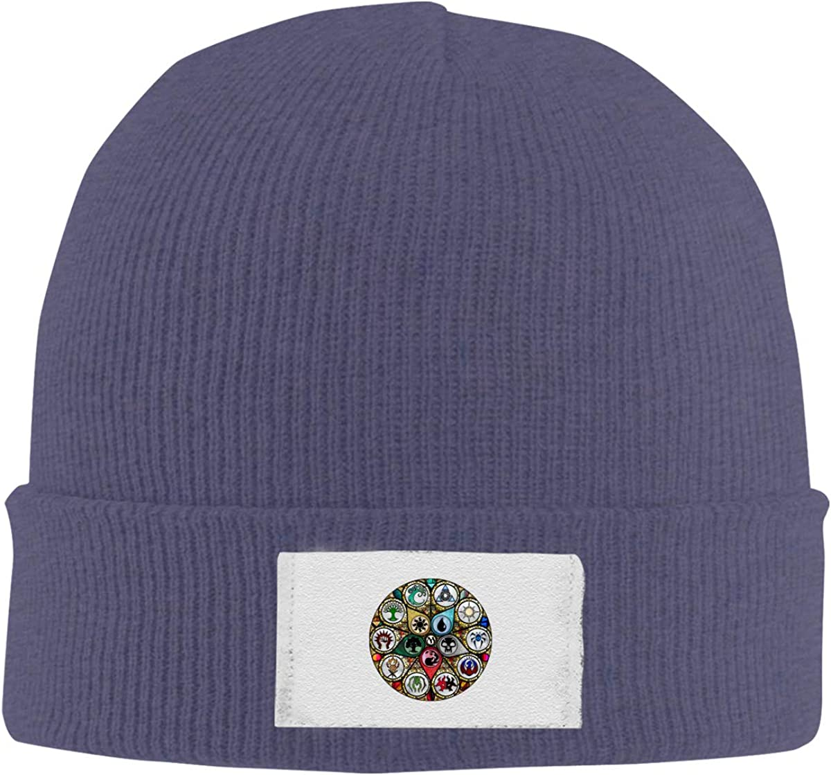 Dunpaiaa Skull Caps MTG Stained Glass Winter Warm Knit Hats Stretchy Cuff Beanie Hat Black