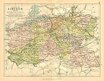 Amazoncom COUNTY LIMERICK Antique county map Munster Ireland