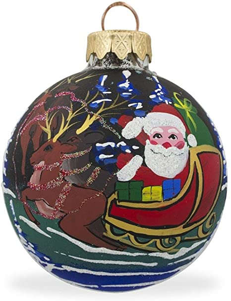 Amazon Com Bestpysanky Santa Claus With Sleigh And Reindeer Glass Ball Christmas Ornament 3 25 Inches Home Kitchen