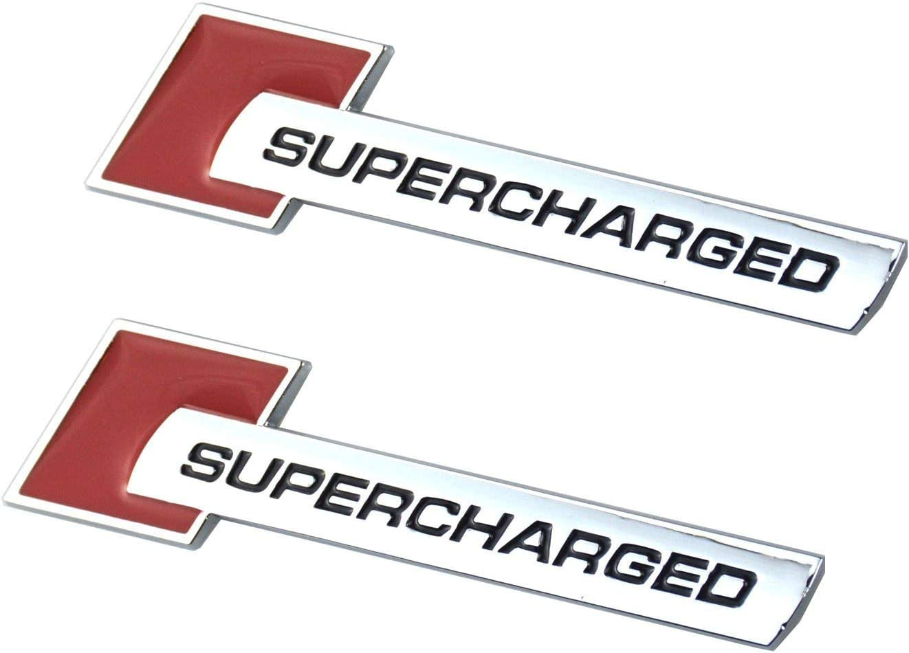 red 2pcs Supercharged Alloy Badge Emblems,3D Decal Replacement for Audi TT A3 A4 A5 A6 A7 A8 Q3 Q5 Q7 S4 S6 S5 RS5