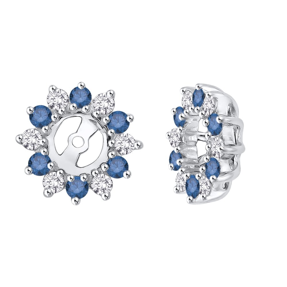 Alternating Diamond with Sapphire Earring Jackets in Sterling Silver (5/8 cttw) (Color JK, Clarity I2-I3)