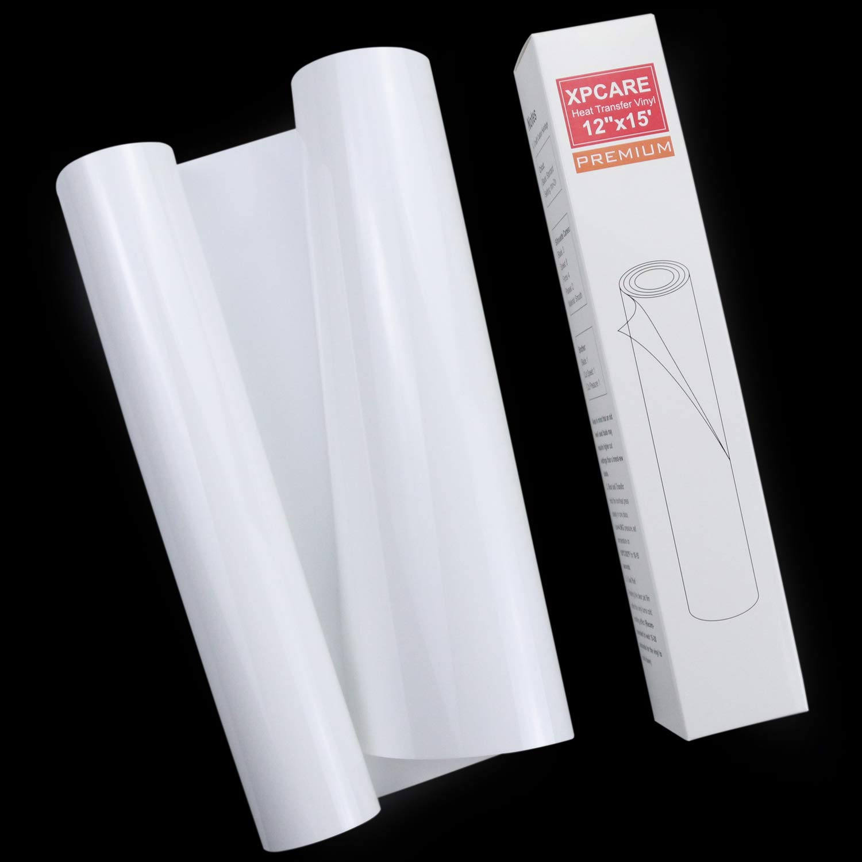 XPCARE White HTV 12 x 15 Iron on Heat Transfer Vinyl Roll