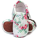 HONGTEYA Baby Moccasins with Rubber Sole - Flower