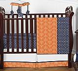 Modern Bright Orange and Navy Arrow Print Hexagon 4 Piece Crib Baby Bedding Set Without Bumper
