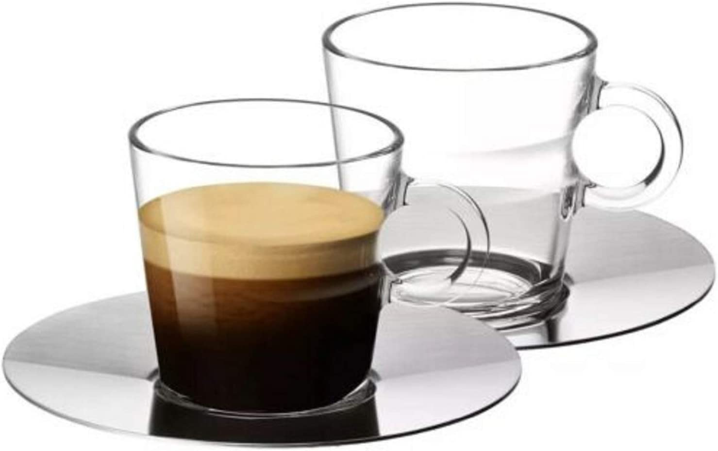 Nespresso View Collection: Set of 2 espresso glass cups and saucers (80 ml)