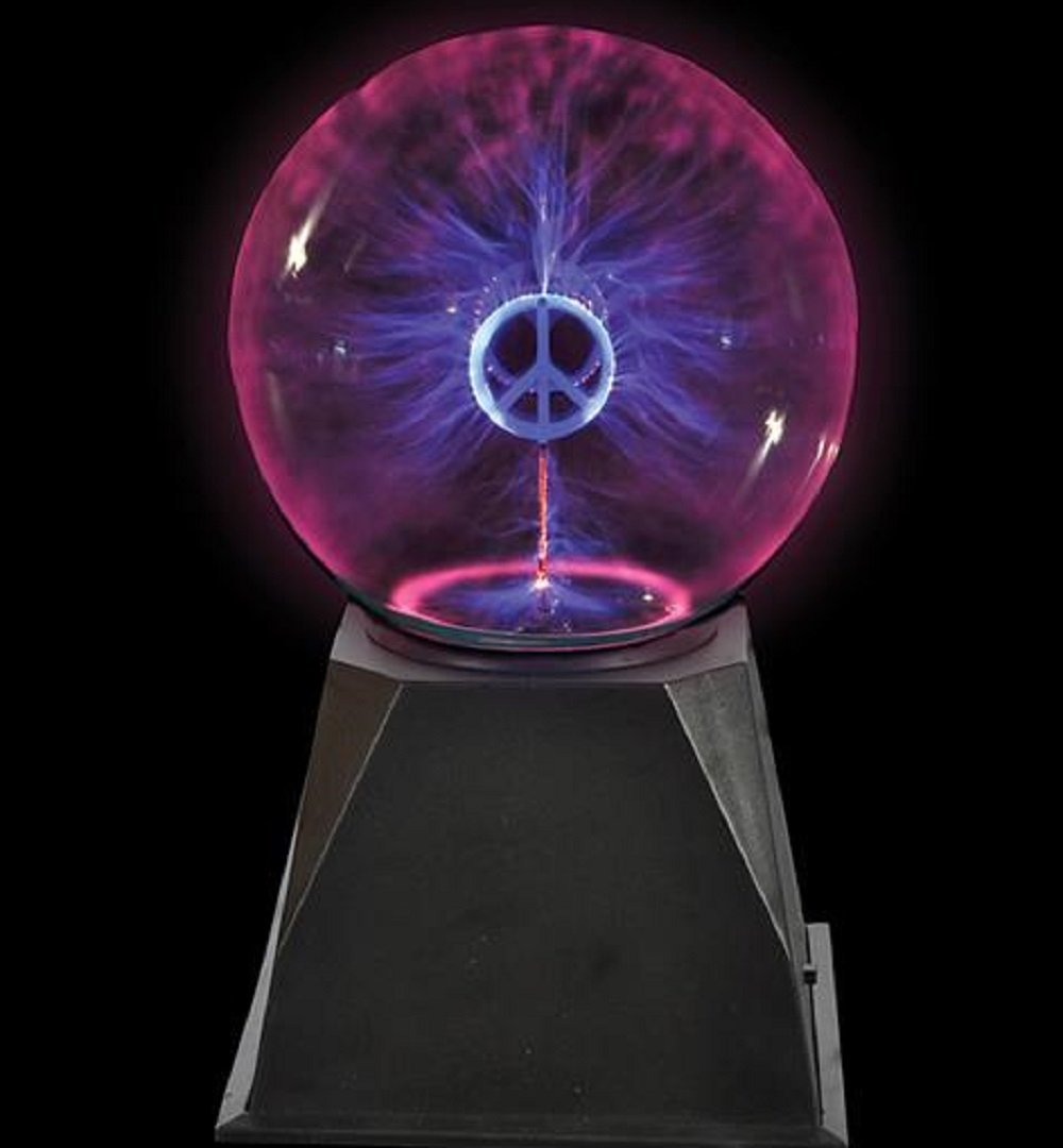 Plasma Ball - Nebula, Thunder Lightning, Piece Sign Center - 8 Inch, Plug-In - For Parties, Decorations, Prop, Kids, Bedroom, Home, And Gifts - By Kidsco