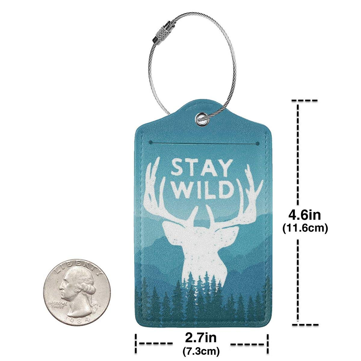 Leather Luggage Tag Stay Wild Adventure Wilderness Emblems Luggage Tags For Suitcase Travel Lover Gifts For Men Women 4 PCS