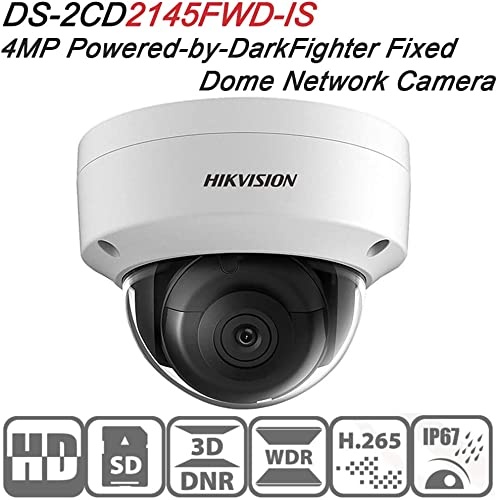 Hikvision Dome IP Camera DS-2CD2145FWD-IS 4MP 2.8Mm Lens PoE Network Security Camera HD 1080P Day Night IR To 30M Wide Dynamic Range Ip67 IK10 H.264 Onvif English Version